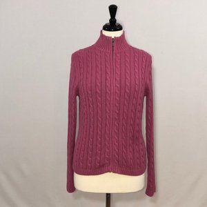 L.L.Bean Cable Knit Zip-Up Cardigan 100% Cotton